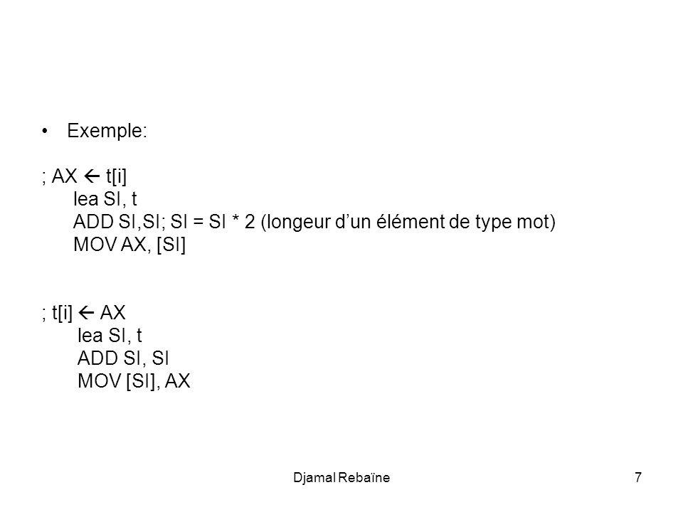 ADD SI,SI; SI = SI * 2 (longeur d'un élément de type mot) MOV AX, [SI]